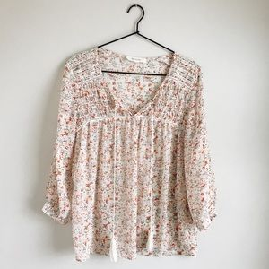 Two by Vince Camuto Floral Sheer Blouse